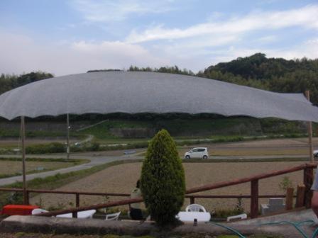 田んぼのまん前に設えられた野外スタジオ